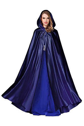 Women's Wedding Hooded Cape Bridal Cloak Poncho Full Length Navy Blue