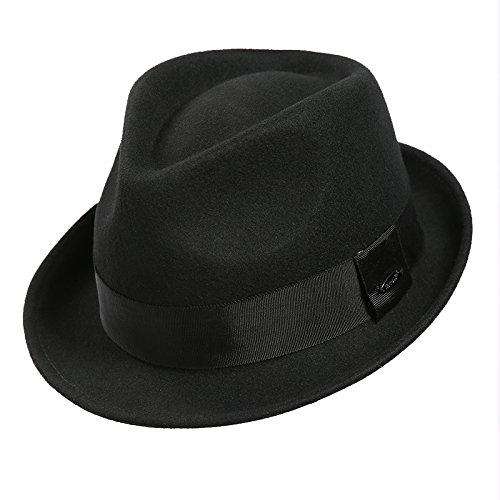 Sedancasesa Mens Felt Fedora Hat Unisex Classic Manhattan Indiana Jones Hats (M, A:Black) (Unisex Felt Hat)