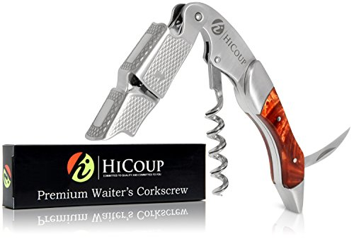 Waiters Corkscrew by HiCoup - Professional Stainless Steel with Tiger's Eye Resin Inlay All-in-one Corkscrew, Bottle Opener and Foil Cutter, The Favoured Wine Opener of Sommeliers and Bartenders
