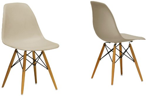Baxton Studio Azzo Plastic Mid-Century Modern Shell Chair, Beige, Set of 2