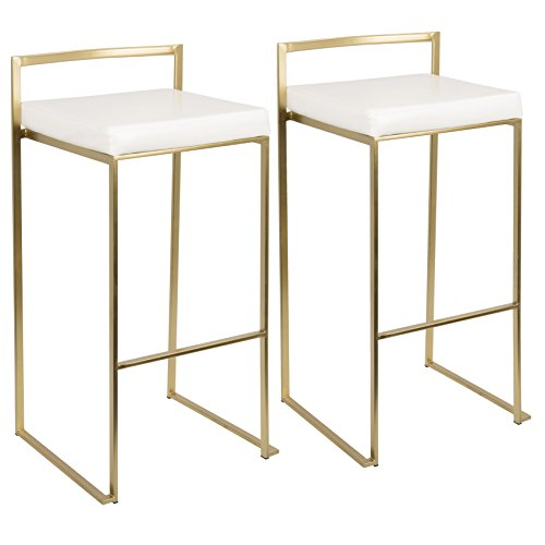 WOYBR BS AU+W2 Metal, Pu Leather Fuji Bar Stool Set of 2