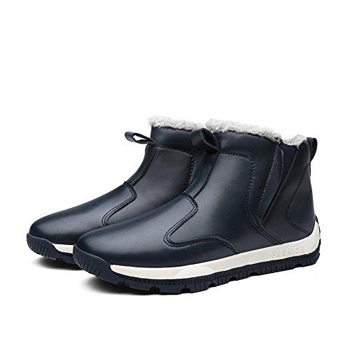 Enllerviid Mens Scarpe In Pelle Pu Slip-on Sneakers Alla Caviglia Stivali Da Neve Alta Con Fodera In Pelliccia Blu