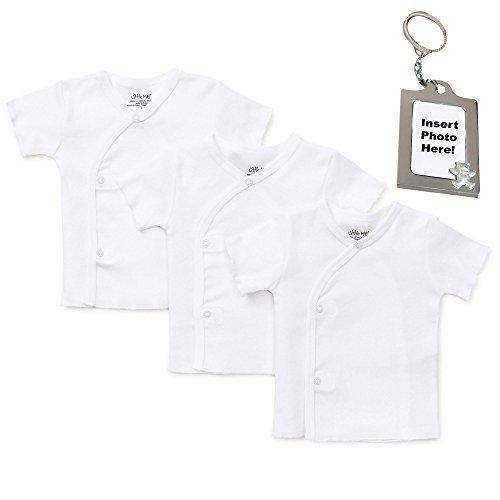 (Little Me Unisex Basic White Side Snap T-Shirt Undershirt and Keychain 3 mth)
