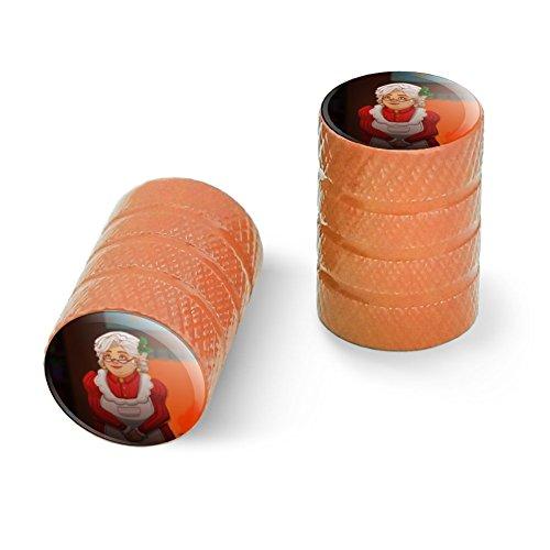 ミストリー?サンタ?クリスマス?ホリデーと一緒のミセス?クラウスオートバイ自転車バイクタイヤリムホイールアルミバルブステムキャップ - オレンジ