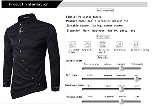 HOP Men's Casual Irregular Longline Hem Slim Fit Button Down Dress Shirt HOPM002-Black-S