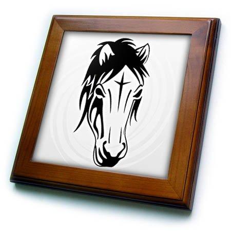 3dRose Sven Herkenrath Animal - Tribal Horse Horses Portrait Ride Riding Funny - 8x8 Framed Tile (ft_280313_1)