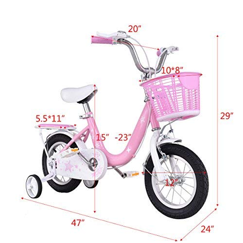 Goplus Kids Bike Boy's and Girl's Bicycle with Training Wheels and Basket for Children (Pink, 16'')