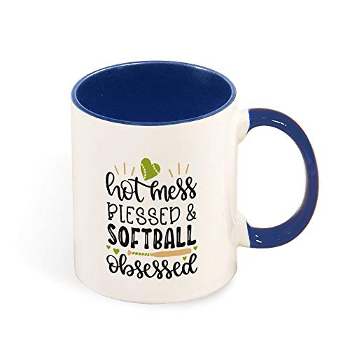 DKISEE Colorful Hot Mess Blessed And Softball Obsessed Coffee Mug Novelty 11oz Ceramic Mug Cup Birthday Christmas Anniversary Gag Gifts Idea - Dark Blue