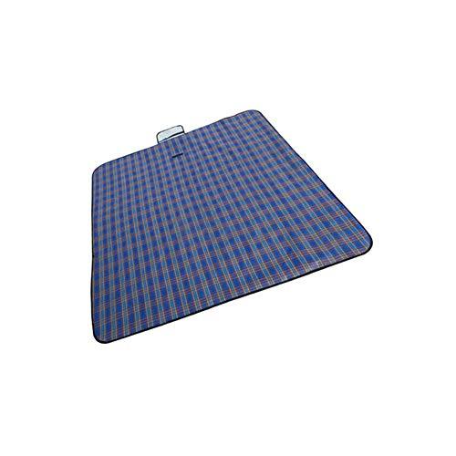 (Grey990 Portable Plaid Picnic Mat Outdoor Travel Waterproof Camping Pad Beach Blanket Blue)
