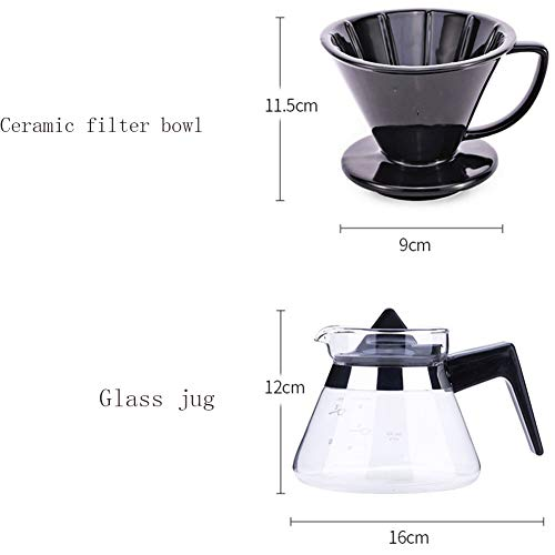SYY-US Coffee Pot Set Ceramic Filter Cup with Glass Pot Household Hand Coffee Pot Teapot Multi-Function Drip Type Thin Mouth Pot with Handle by SYY-US (Image #6)