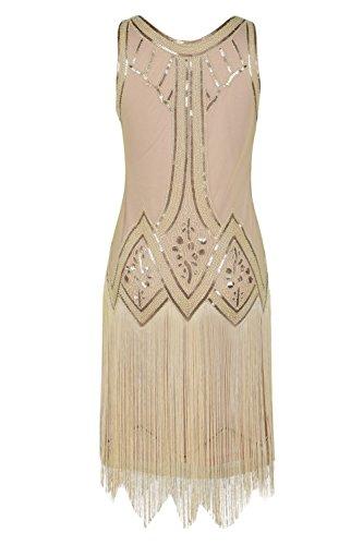 Perl Dco Flapper Retro frange Femmes Paillettes 1920s Kayamiya Art Inspir La Beige Charleston De Robe qZx7qI0