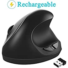 Wireless Vertical Mouse, 7Lucky 2.4G Rechargeable Ergonomic Optical Mice : Laptop Mouse with Nano Receiver High Precision Adjustable Sensitivity 800 / 1200 /1600 DPI, 6 Buttons,【 For Small Hands 】