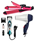 IAS Combo Of Hair Dryer & Nhc-2009 Straightener & Curler, Professional Electric Hair Trimmer