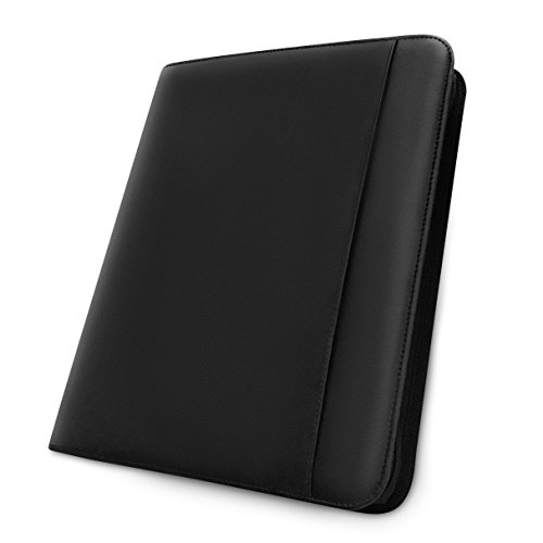 Leather Deluxe Writing Padfolio (Professional Zipper Padfolio holds iPad/Tablet-Office Folio Organizer & Executive Document Case with External Pocket for Refillable Legal Pad-Perfect for Job Interview & Business-Left & Right Hand)