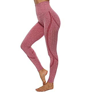 CFR Women's Seamless Gym Yoga Leggings High Waist Sport Workout Pants Hollow Out Elastic Comfy Tights Tummy Control Pink M