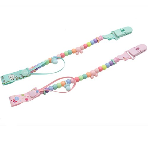 Rugjut Muliticolored Baby Pacifier Clip with Beads Toys Holder , 2 Pack