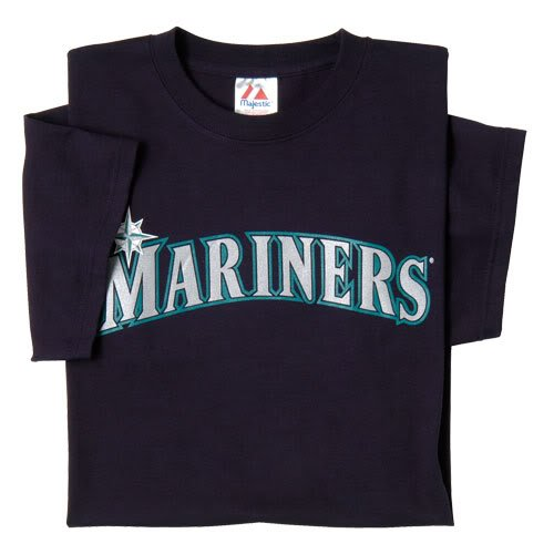 (Seattle Mariners (YOUTH MEDIUM) 100% Cotton Crewneck MLB Officially Licensed Majestic Major League Baseball Replica T-Shirt Jersey)