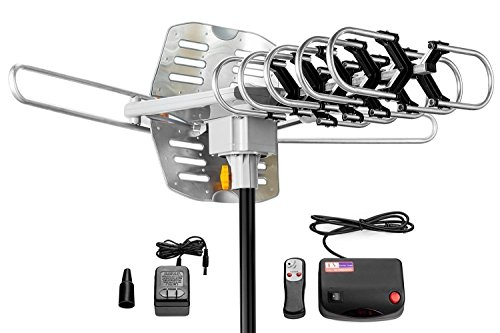 HDTV Outdoor Digital Outdoor Amplified TV Antenna Pole Mounting 360° Rotation UHF/VHF/FM 150 Miles Range with Rotor control Box, Remote, Power supply & Cables