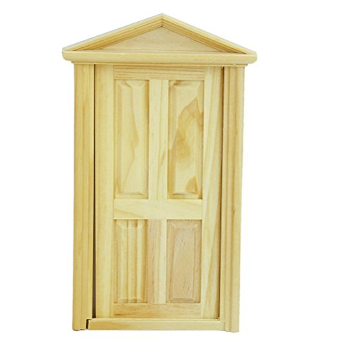 PIXNOR 1:12 Dollhouse Miniature 6-panel Wood Door with Steepletop