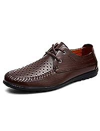 Hora de meipa Zapatos Oxford para Hombres Zapatos Formales Cordones Estilo OX Cuero Punta Redonda Color Virgen (Vacío Opcional)