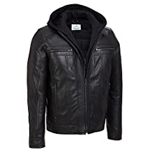 VearFit Hooded Black Faux leather jacket for men