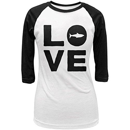 Old Glory Shark Love Juniors 3/4 Sleeve Raglan T Shirt White-Black SM