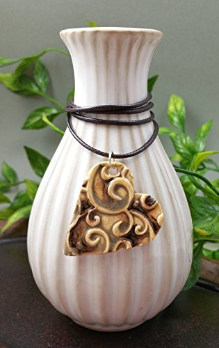 Ceramic Swirl (Essential Oil Diffuser Necklace Aromatherapy Perfume Ceramic Clay Artist Heart Pendant in Antique Granada Swirl Scrollwork on a Espresso Brown Waxed Cotton Necklace)