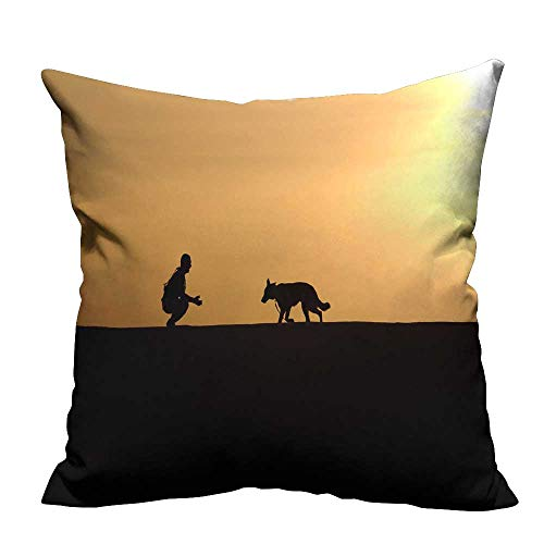 Throw Pillow Cover for Sofa A Dog Called by a Trainer Textile Crafts 26x26 inch(Double-Sided Printing) ()
