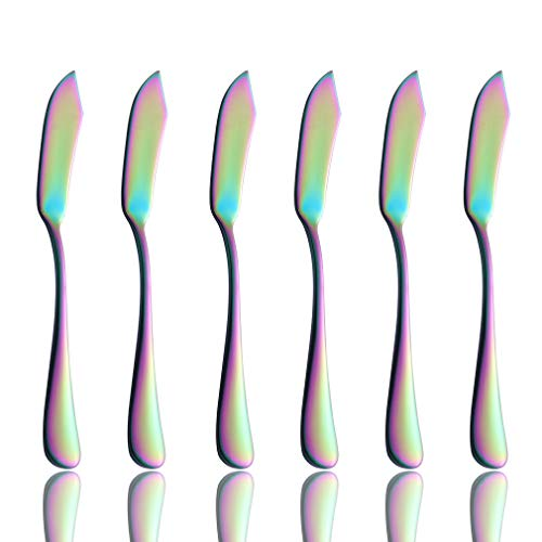 (Onlycooker Rainbow Butter Spreader Knife Set 6 Piece Colorful Flatware 18/10 Stainless Steel 5.8-inch Cheese Spreader Knives for Bread Sandwich Multicolor Silverware Utensil Mirror)