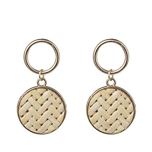 - Psunrise Pendientes Bohemian Style Handmade Rattan Metal Geometric Round Earrings Stud Ladies Jewelry(12×3.5cm, White)