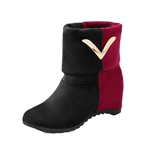 AllhqFashion Damen Mittler Absatz Gemischte Farbe Ziehen auf Rund Zehe Stiefel, Rot, 41