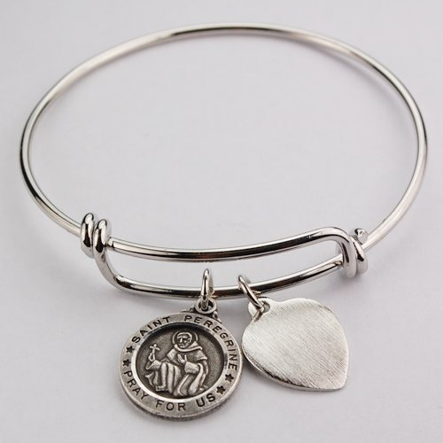 St Peregrine Bracelet Medal Pewter Patron Saint Cancer Youth 2 1/2