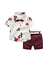Fanteecy Baby Boys Outfits Summer Hawaii Rose Print Bow Tie Short Sleeve Shirts Top + Solid Shorts Two Piece Set with Belt