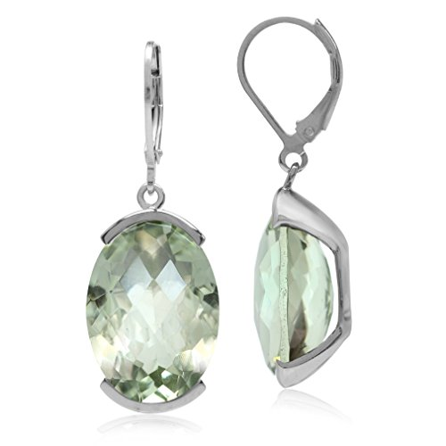 (22.06ct. Natural Oval Shape Green Amethyst White Gold Plated 925 Sterling Silver Leverback Earrings)