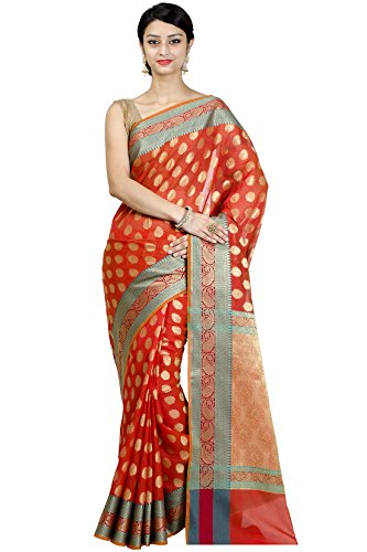 Chandrakala-Womens-Orange-Banarasi-Cotton-Silk-Saree