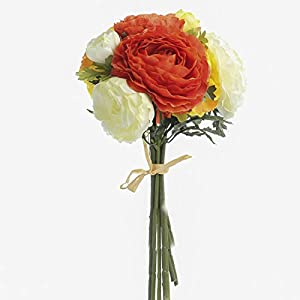 Factory Direct Craft Artificial Orange, Yellow and Cream Ranunculus Bloom Bouquet Bundle Tied with Raffia 102