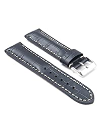 DASSARI Concord Black Croc Leather watch Band for BREITLING 22/20 22mm