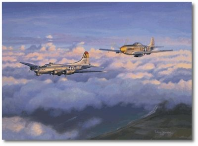 EAGER BEAVER BY JIM LAURIER - B-17 bomber , P-51 Mustang - Aviation Art Prints ()
