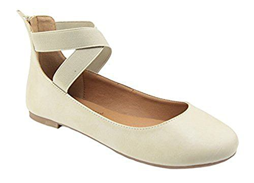 Special Ocassion Shoes (ANNA Dana-20 Women's Classic Ballerina Flats with Elastic Crossing Straps (7 B(M) US, Beige)