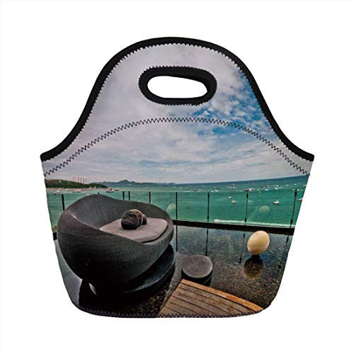 Portable Neoprene Lunch Bag, Patio Decor, Thailand Pattaya City Ocean Sea Shore View Balcony Veranda Terrace, White Black and Green, for Kids Adult Thermal Insulated Tote Bags (Best Shopping In Pattaya)