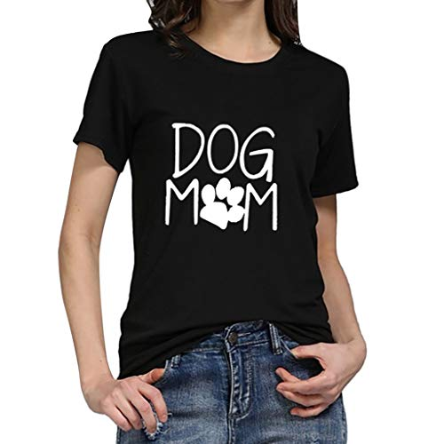 TWGONE Fashion Women's Loose Short-Sleeved Dog Mom Print T-Shirt Casual O-Neck -