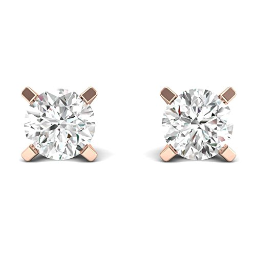 (1/4ct tw Diamond Stud Earring in 14k White Gold (Rose))