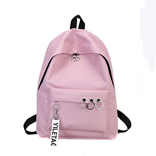 (Travel Backpack Ring Bookbags Womens Backpack Grey Black White Solid Canvas Backpack College Pink)