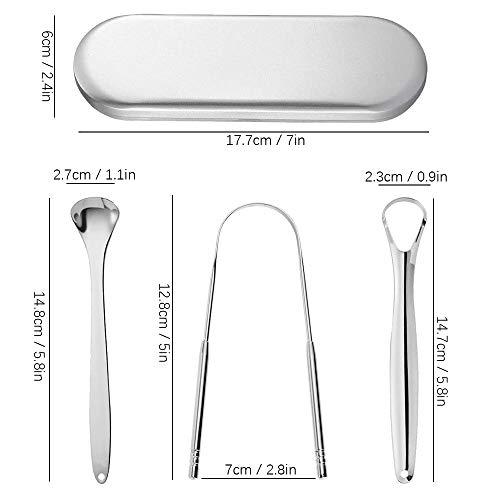 Zungenreiniger Schaber, ConBlomi 3er Pack Edelstahl Metall Zungenschaber, aus Edelstahl gegen Mundgeruch und für Frischer Atem mit Etui für Mundpflege