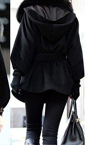 Manga Con Casual Espesar Con Mujer Forrado Caliente De Invierno Fur Lana Cinturón Faux negro Abrigo Capucha Larga Gabardina La taEqRww