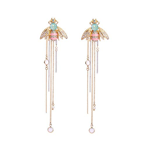 Nonsucheer Jewelry for Women Link Chain Fringe Long Earrings Cute Crystal Insect Bee Fashion Earrings ()