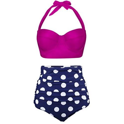 6c5a15ebeef59 cheap LAVENCHY Women Cute Vintage Polka Dot Print Halter Ruffle High Waisted  Push Up Padded Blue