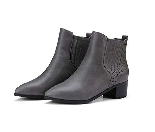Chunkly Corte Size 5cm Mujeres Punta Zapatos Eu Color Pure Casual Botas Ankle Toe Zapatos 32 Martin 43 Tamaño 35 Boots Color Gray Boots Cómodo Chelsea Remaches 5 Heel XInqOxPw