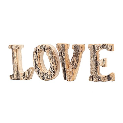 Decorative 4 Inch Country Rustic Exposed Wood 'LOVE' Block Letters Sign