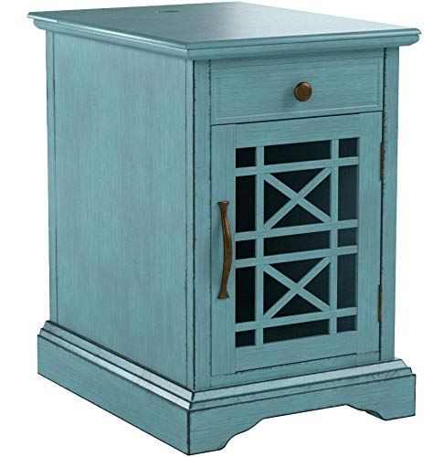 """Jofran Craftsman Power Chairside Table Antique Blue, 16"""" W X 22"""" D X 25"""" H, Finish, (Set of 1)"""